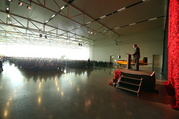 Anzac Day service at the Air Force Museum of New Zealand, 2019.