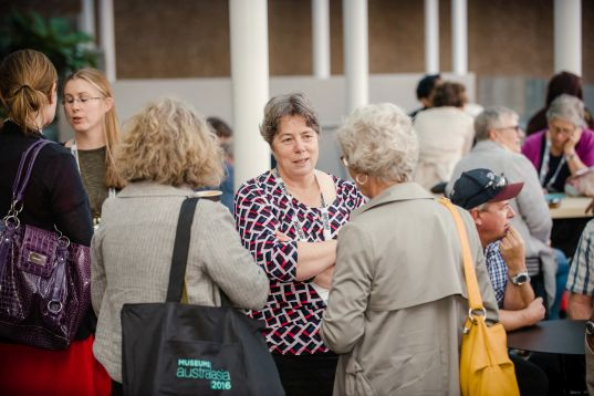 Thérèse speaking with museum sector colleagues at the Museums Australasia conference in Auckland, 2016. Image: Museums Aotearoa.
