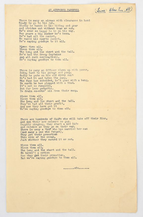 """'An Air Force Farewell""""'Music Lyrics, a parody of 'Bless 'em All.'  From the collection of the Air Force Museum of New Zealand."""