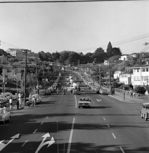 New Skyhawks being towed through Auckland streets on the way to Whenuapai, RNZAF Base Auckland.