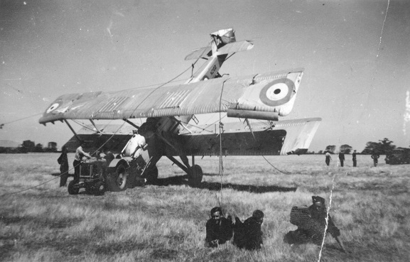 Salvage party with the wreck of Vildebeest NZ102 at Wigram, 12 February 1939. Image ref ALB20084682034, Air Force Museum of New Zealand.
